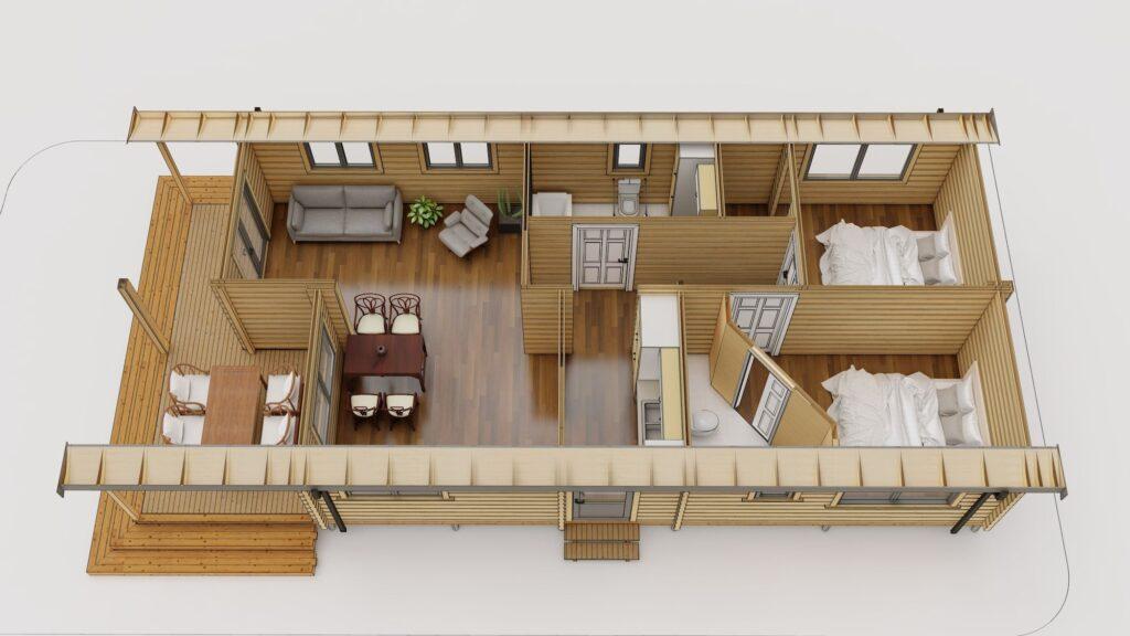 Premier log homes 2 bedroom mobile log home