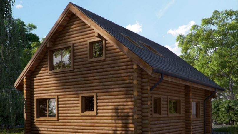 2 storey cabin in woodland area